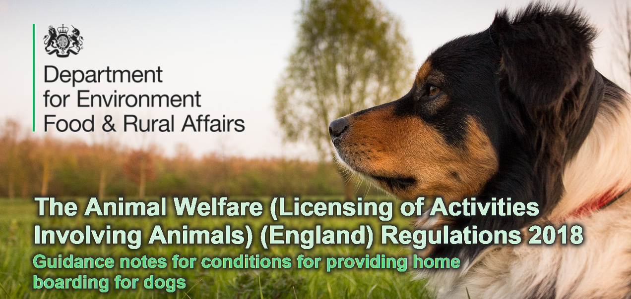 The Animal Welfare (Licensing of Activities Involving Animals) (England) Regulations 2018 Guidance notes for conditions for providing home boarding for dogs